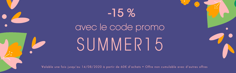 -15% avec le code promo SUMMER15